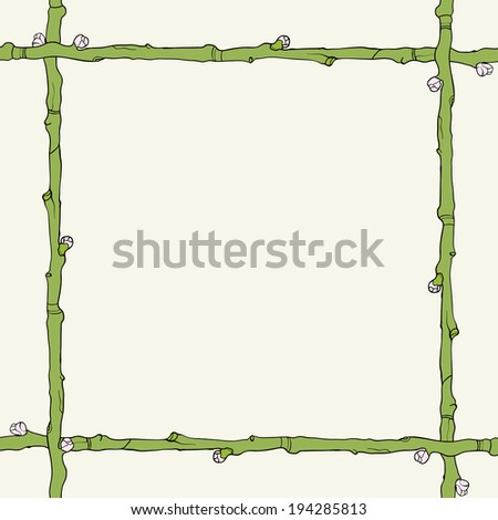 Green twig frame with buds Raster copy - stock photo