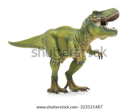 green tyrannosaurus on white background - stock photo