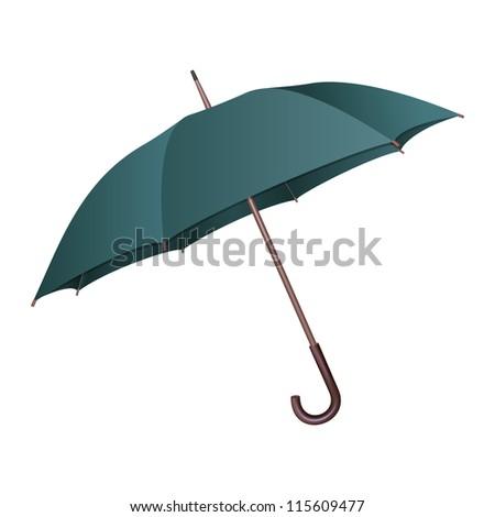 Green umbrella on white background. - stock photo