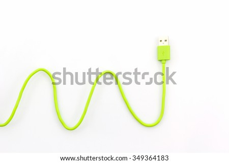 Green USB cable for smartphone on white background. - stock photo