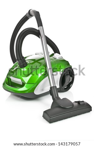 Green vacuum cleaner isolated on white background - stock photo