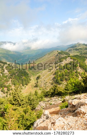 Green valley and hills on the island of Crete, Greece - stock photo
