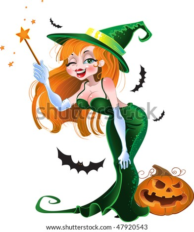 Green vector sexy witch. raster version - stock photo