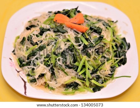 Green vegetable with vermicelli dish - stock photo