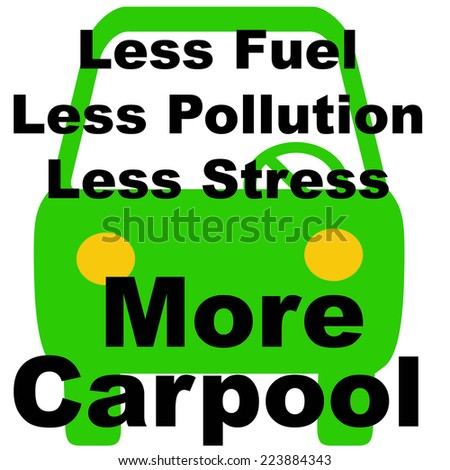 green vehicle on white background carpool poster illustration - stock photo