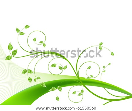 Green vine on isolated white background - stock photo