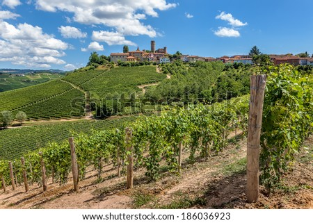 Green vineyards and small town on hill in Piedmont, Northern Italy. - stock photo