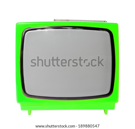 Green vintage analog television isolated over white background, clipping path. - stock photo
