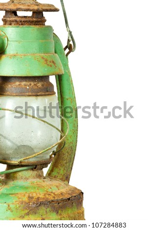 Green vintage lamp isolated on white background - stock photo