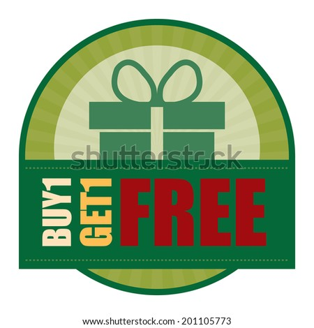 Green Vintage Style Buy1 Get1 Free Icon, Label or Sticker Isolated on White Background - stock photo