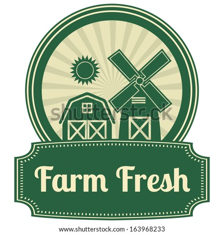 Green Vintage Style Farm Fresh Icon, Label or Sticker Set Isolated on White Background - stock photo