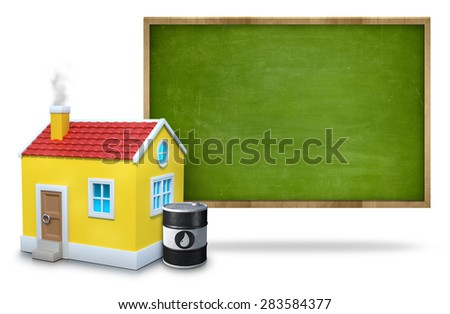 Green vintage wooden frame blank blackboard white background with 3d house and oil barrel front of blackboard - stock photo