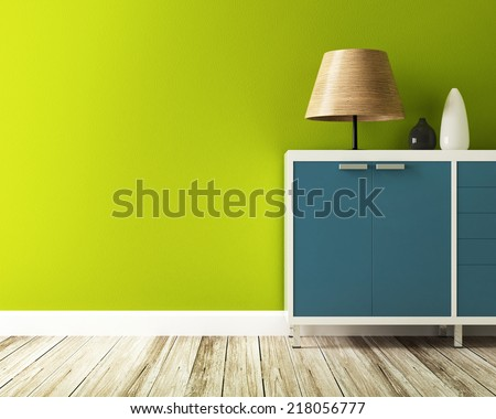 green wall and cabinet decorate - stock photo