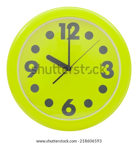 Green wall clock isolated on white background,  file includes a excellent clipping path - stock photo