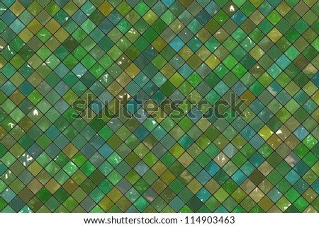Green wall tiles background - stock photo
