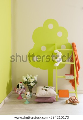 green wall  young room decor and stairs - stock photo