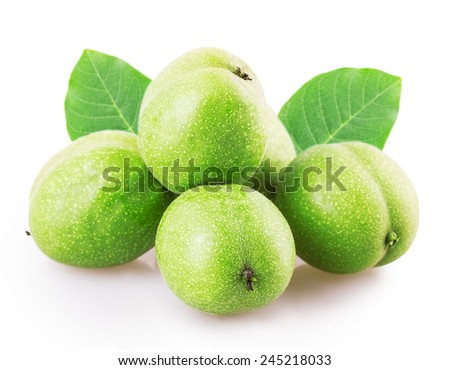 green walnut  Isolated on white background - stock photo