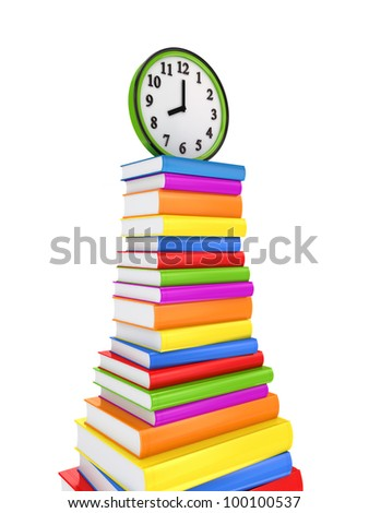 Green watch on a big stack of colorful books.Isolated on white background.3d rendered. - stock photo