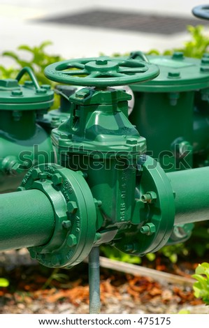Green Water Main Valve - stock photo