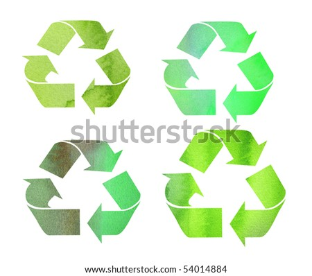 green watercolor background recycle symbols - stock photo