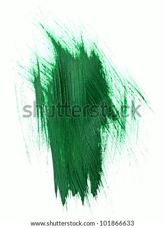 Green watercolor brush strokes with space for your own text - stock photo