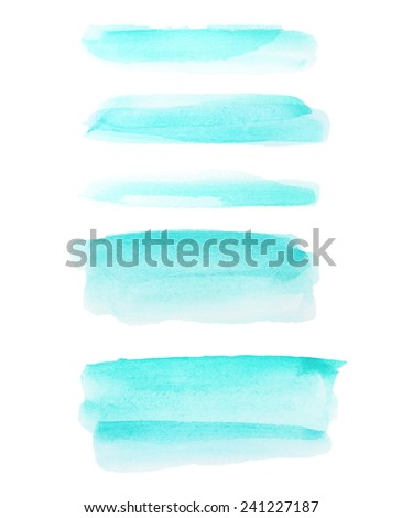 green watercolor hand painted brush strokes isolated on white background, grunge paper texture, (with clipping path) - stock photo