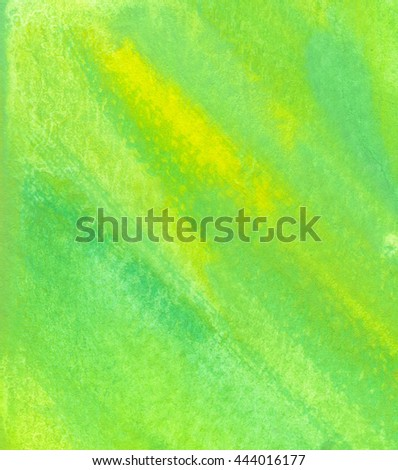 Green watercolor texture background with yellow patches. Hand painted backdrop. - stock photo