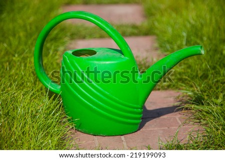 Green watering can close up. Gardening tools - stock photo