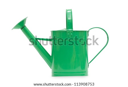 Green watering can isolated on a white background - stock photo