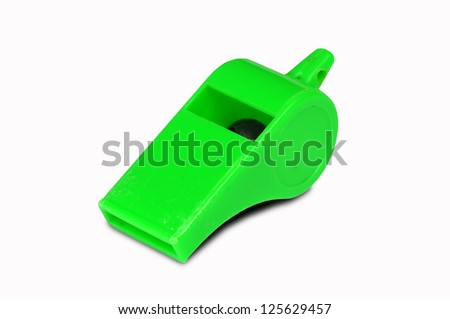 Green whistle isolated on white background with Clipping Part - stock photo