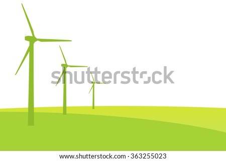 Green Wind mills illustration for natural and ecologic energy with copy space - stock photo