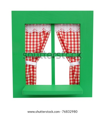 Green window with red curtains - stock photo