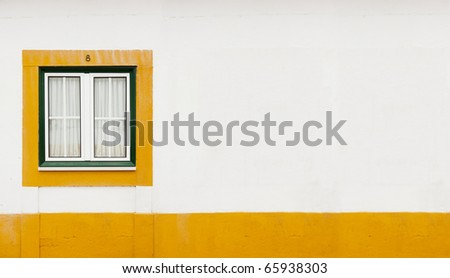 green window with yellow line - stock photo