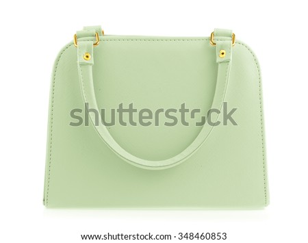 Green women bag isolated on white background - stock photo