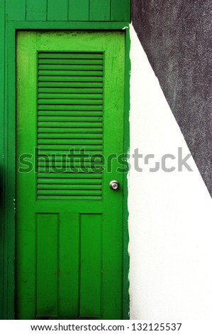 green wood door - stock photo