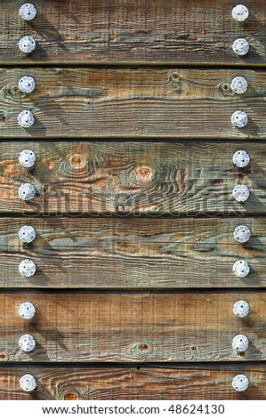 Green Wood Frame Background with Bolts - stock photo