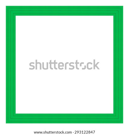 Green wooden frame isolated on white background. Contemporary picture frames in high resolution vibrant colors. Wooden photo frame. Wooden frame for paintings or photographs. - stock photo