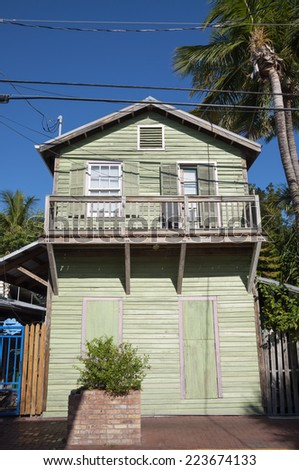Green wooden house in Key West, Florida, USA - stock photo