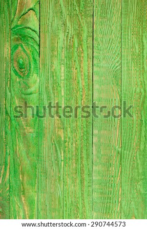 Green wooden wall, painted in shabby chic style - stock photo