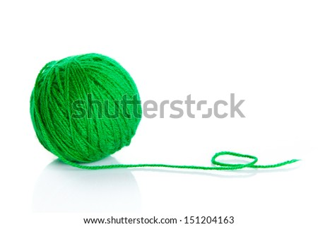 Green wool yarn ball isolated on white background - stock photo