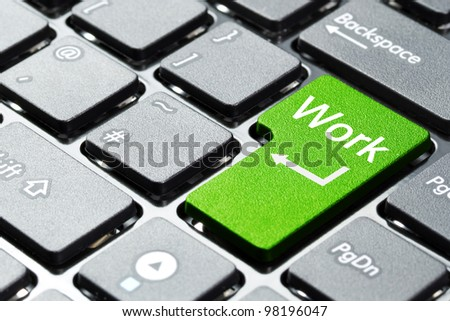 Green work button on the keyboard - stock photo