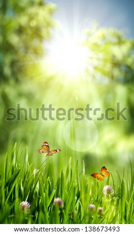 Green world, abstract environmental backgrounds for your design - stock photo