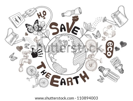 Green world drawing concept. Save the earth (jpg). vector version also available - stock photo