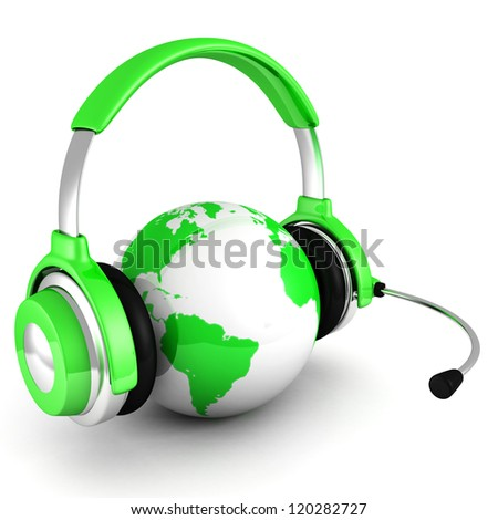 green world globe with headphones and mic - stock photo