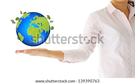 green world in the hand - stock photo