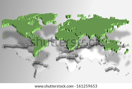 Green world map made as a piece of a puzzle / World puzzle - stock photo