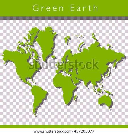 Green world map with space for text - stock photo