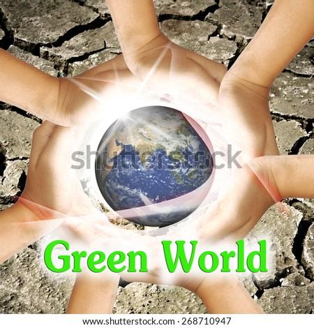 Green World word. - stock photo