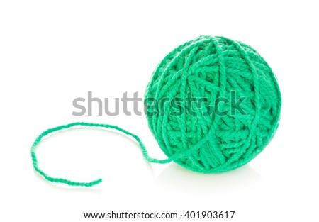 Green Yarn Ball - stock photo