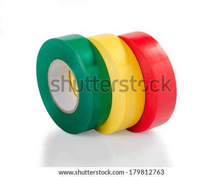 Green, yellow and red insulating tape hank isolated on a white background, clipping path without shadow - stock photo